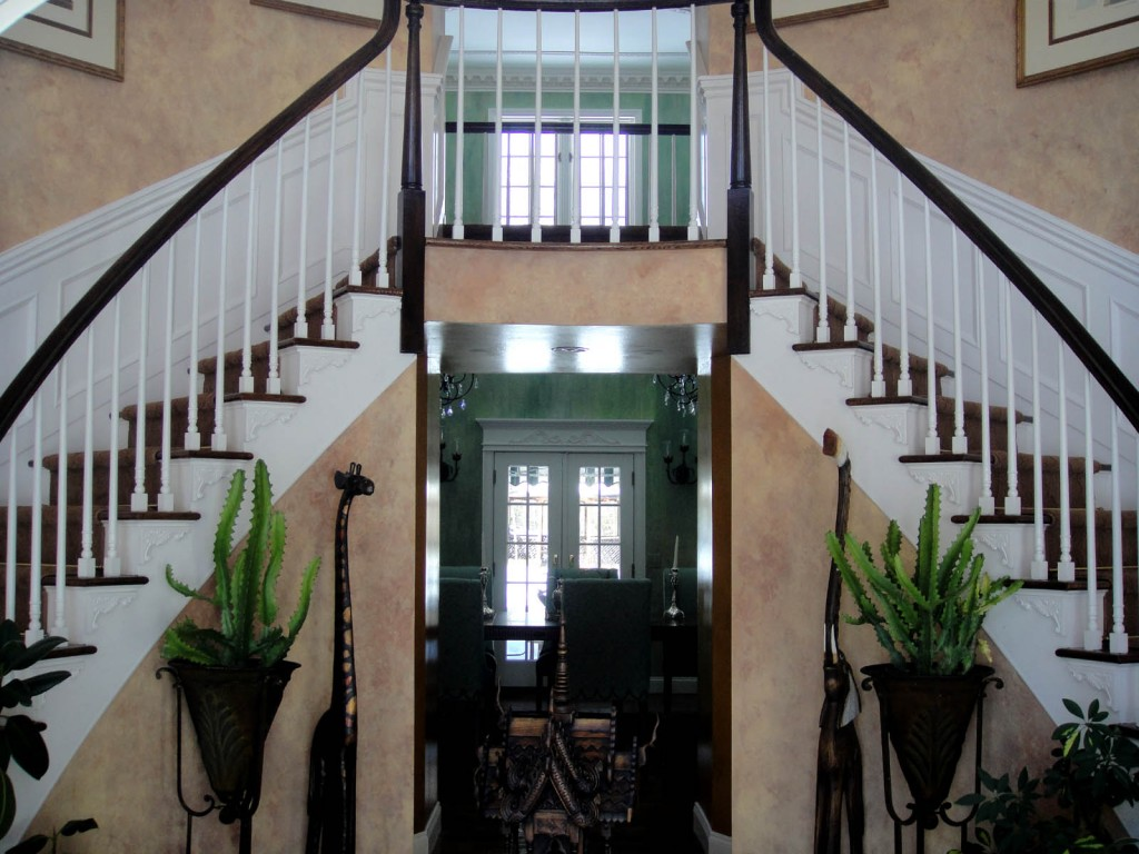 Double Curved Staircase Wainscot1 1024x768 Architectural Detailing for a Foyer