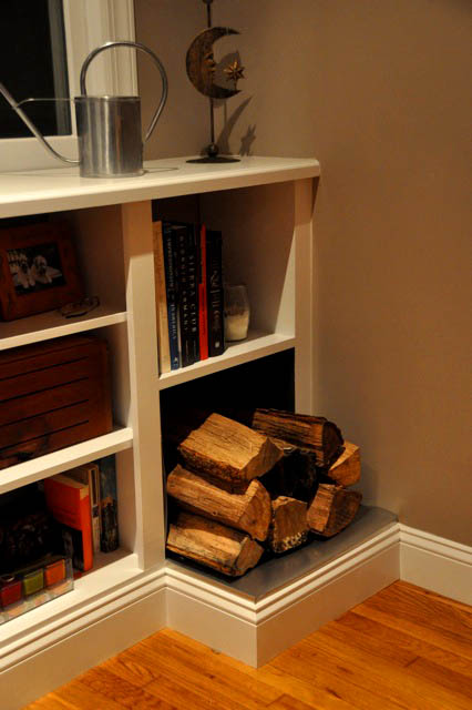 Fireplace Bookshelves with Wood Storage