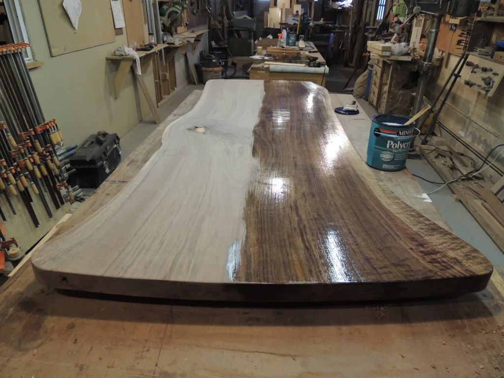 first coat 1024x768 Natural Edge Walnut Dining Table