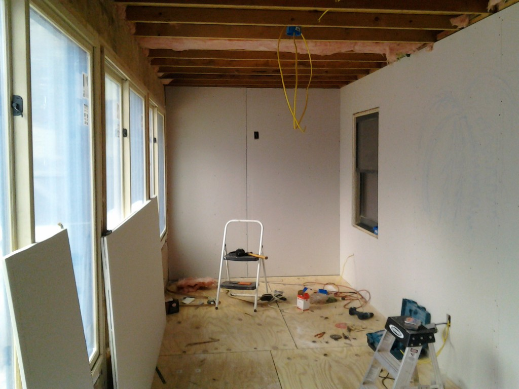 sheetrock 1024x768 Making a Sunroom (From a Screened in Porch)
